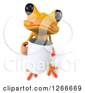 Clipart Of A 3d Yellow Frog Holding Up A Coffee Cup Royalty Free Illustration