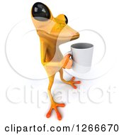 Clipart Of A 3d Yellow Frog Standing With A Coffee Cup Royalty Free Illustration