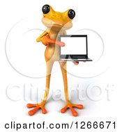 3d Yellow Frog Holding And Pointing To A Laptop Computer
