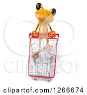 3d Yellow Frog Pushing An Empty Shopping Cart