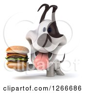 Clipart Of A 3d Jack Russell Terrier Dog Holding A Double Cheeseburger Royalty Free Illustration