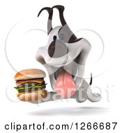 Clipart Of A 3d Jack Russell Terrier Dog Running With A Double Cheeseburger Royalty Free Illustration