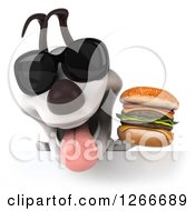 Clipart Of A 3d Jack Russell Terrier Dog Wearing Sunglasses And Holding A Double Cheeseburger Over A Sign Royalty Free Illustration