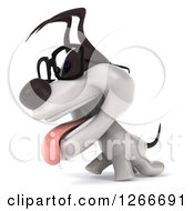 Clipart Of A 3d Bespectacled Jack Russell Terrier Dog Walking Royalty Free Illustration