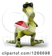 Clipart Of A 3d Green Dinosaur Wearing Sunglasses And Walking With A Steak Royalty Free Illustration