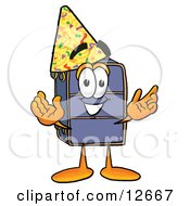 Clipart Picture Of A Suitcase Cartoon Character Wearing A Birthday Party Hat