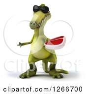 Clipart Of A 3d Green Dinosaur Wearing Sunglasses And Holding A Steak Royalty Free Illustration
