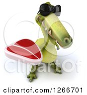 Clipart Of A 3d Green Dinosaur Wearing Sunglasses And Holding Up A Steak Royalty Free Illustration