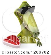 Clipart Of A 3d Green Dinosaur Wearing Sunglasses And Holding A Steak Over A Sign Royalty Free Illustration