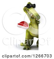 Clipart Of A 3d Green Dinosaur Wearing Sunglasses And Holding A Steak Around A Sign Royalty Free Illustration