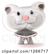 Clipart Of A 3d White Kitten Reading A Book Royalty Free Illustration by Julos