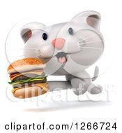 Clipart Of A 3d White Kitten Running With A Double Cheeseburger Royalty Free Illustration