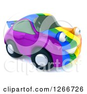 Clipart Of A 3d Rainbow Flag Porsche Car Character Royalty Free Illustration