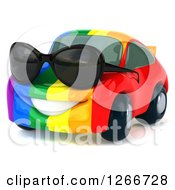 Clipart Of A 3d Rainbow Flag Porsche Car Character Wearing Sunglasses Royalty Free Illustration