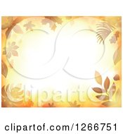 Clipart Of A Background Of Orange Flares And Autumn Leaves Around Text Space Royalty Free Vector Illustration by visekart