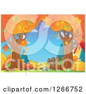 Clipart Of A Backdrop Of Autumn Trees And Houses Royalty Free Vector Illustration by visekart