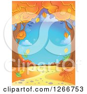 Clipart Of A Backdrop Of A Path Through Autumn Trees Royalty Free Vector Illustration