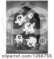 Clipart Of A Spider Webs Bats And Ghosts In A Grayscale Haunted Hallway Royalty Free Vector Illustration