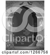 Clipart Of A Grayscale Haunted Hall With Spider Webs And Bats Royalty Free Vector Illustration