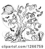 Clipart Of A Black And White Sketched Spooky Tree In A Cemetery With Bats And A Jackolantern Royalty Free Vector Illustration by visekart