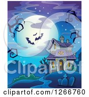 Clipart Of A Full Moon And Bats With Creepy Bare Tree Branches Over A Haunted Halloween House Royalty Free Vector Illustration
