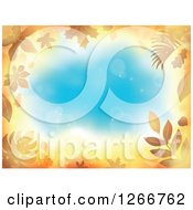 Clipart Of A Background Of Orange Flares And Autumn Leaves Around Blue Text Space Royalty Free Vector Illustration by visekart