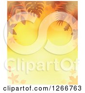 Clipart Of A Background Of Orange Flares And Autumn Fall Leaves Around Text Space Royalty Free Vector Illustration by visekart