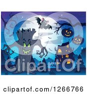 Clipart Of A Spooky Ent Tree With Bats Jackolanterns And A Haunted House Against A Full Moon Royalty Free Vector Illustration
