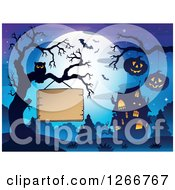 Clipart Of A Wood Sign Hanging From A Bare Tree With An Owl Jackolanterns Bats Full Moon And Haunted House Royalty Free Vector Illustration