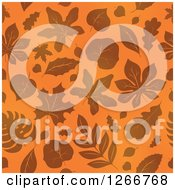 Clipart Of A Seamless Orange Autumn Leaf Background Pattern Royalty Free Vector Illustration by visekart