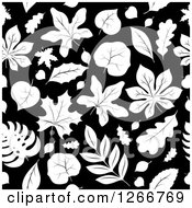 Clipart Of A Seamless Black And White Autumn Leaf Background Pattern Royalty Free Vector Illustration by visekart