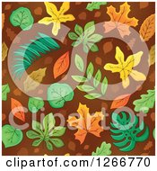 Clipart Of A Seamless Autumn Leaves On Brown Background Pattern Royalty Free Vector Illustration by visekart