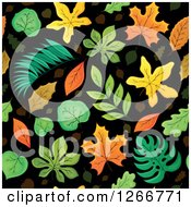 Clipart Of A Seamless Autumn Leaves On Black Background Pattern Royalty Free Vector Illustration by visekart