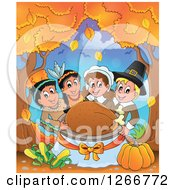 Clipart Of Happy Pilgrims And Native American Indians Holding A Thanksgiving Roasted Turkey Under Autumn Trees Royalty Free Vector Illustration by visekart
