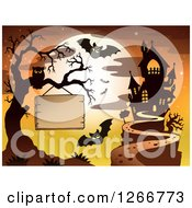 Clipart Of A Wood Sign Hanging From A Bare Tree With An Owl Bats Full Moon And Haunted House Royalty Free Vector Illustration