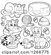 Clipart Of Black And White Cats Toys And Food Royalty Free Vector Illustration