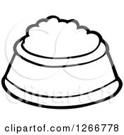 Clipart Of A Black And White Pet Food Bowl Royalty Free Vector Illustration