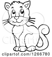 Clipart Of A Black And White Happy Cat Sitting Royalty Free Vector Illustration