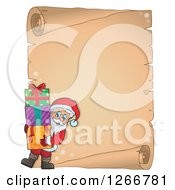 Clipart Of A Parchment Paper Scroll With Santa Carrying Christmas Gifts Royalty Free Vector Illustration