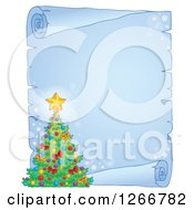 Clipart Of A Frozen Parchment Paper Scroll With A Christmas Tree Royalty Free Vector Illustration