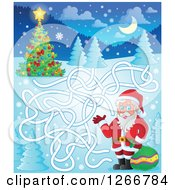 Clipart Of A Christmas Maze With Santa To A Tree Royalty Free Vector Illustration