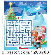 Clipart Of A Christmas Maze With Santa Riding A Reindeer Royalty Free Vector Illustration