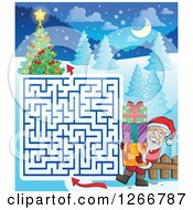 Clipart Of A Christmas Maze With Santa Carrying Gifts To A Tree Royalty Free Vector Illustration by visekart