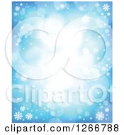 Clipart Of A Winter Background Of Flares And Snowflakes On Blue Royalty Free Vector Illustration