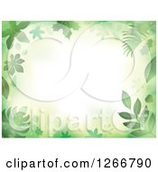 Clipart Of A Background Of Green Flares And Leaves Around Text Space Royalty Free Vector Illustration by visekart