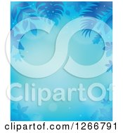 Clipart Of A Background Of Blue Flares And Leaves Around Text Space Royalty Free Vector Illustration by visekart