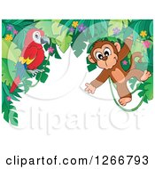 Clipart Of A Border Of Jungle Foliage With A Parrot And Monkey Royalty Free Vector Illustration