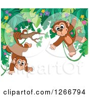 Clipart Of A Border Of Jungle Foliage With Playful Monkeys Royalty Free Vector Illustration
