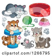 Clipart Of Cats With Toys And Food Royalty Free Vector Illustration