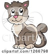 Clipart Of A Brown Happy Cat Sitting Royalty Free Vector Illustration by visekart